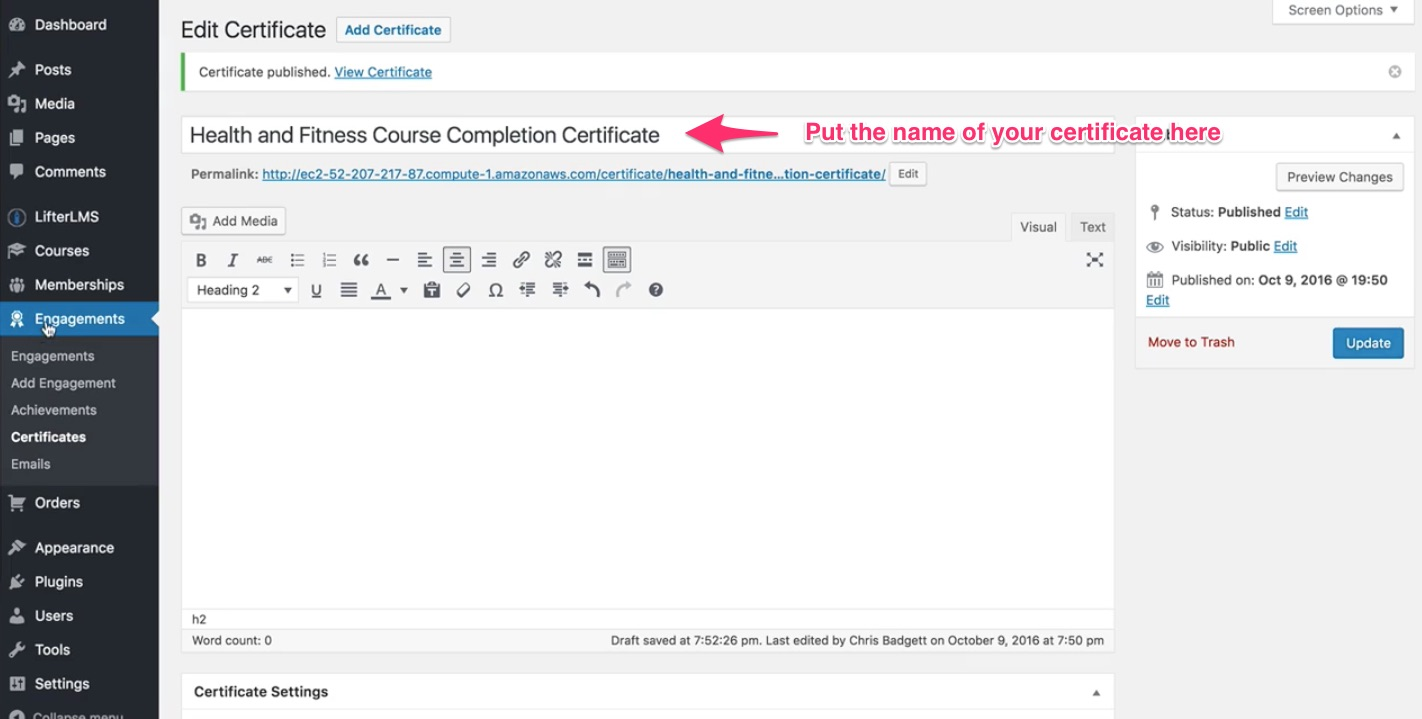 How to create a certificate lifterlms add content into the body of your certificate in the text editor scroll down to copy the desired merge fields a default certificate background comes with 1betcityfo Images