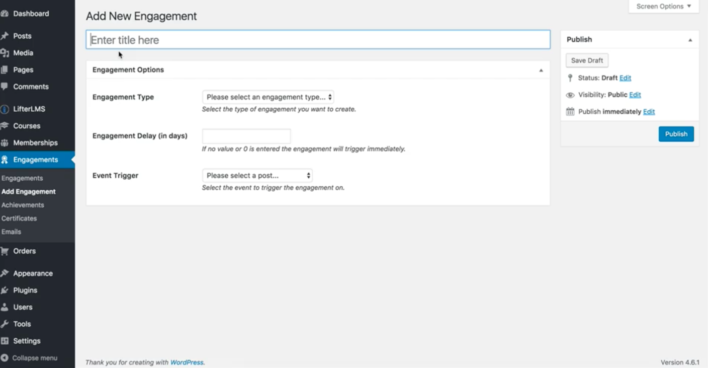 How to create a certificate lifterlms also make sure to select your engagement trigger the event that causes the certificate to be issued for example completion of a lesson or course 1betcityfo Images